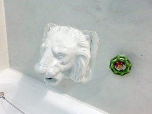 ライオンの口から水が出ます。