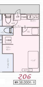 ラシャンス瓢箪山Annex/206号室